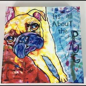 Other - Pug Picture Abstract Colorful Decor on Canvas